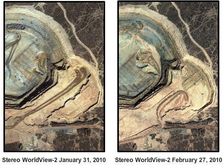 Satellite photos of the Penasquito mine pit